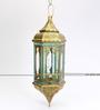 Deziworkz Mehreen Maya Blue Metal & Glass Hanging Lantern