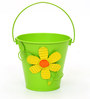 Deziworkz Parrot Green Flower Tin Multi purpose Buckets