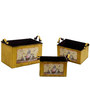 Deziworkz Rectangular Yellow  Victorian planters/tubs (Set of 3)