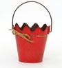 Deziworkz Red Metal hanging rope design bucket /Planter