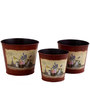 Deziworkz Round Red Victorian planters/tubs ( Set of 3)