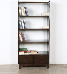 Display Unit Cum Book Shelves With Two Drawers On Bottom In Walnut Finish By BIC
