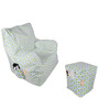 Digital Printed Arm Chair (XXL) & Puffy Combo (Without Beans) by Orka