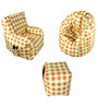 Digital Printed Big Boss Chair (XXXL), Arm Chair (XXXL) & Puffy Combo (With Beans) by Orka
