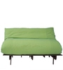 Double Futon Sofa Cum Bed with Mattress in Fluorscent Green Colour by ARRA