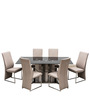 Dove Six Seater Dining Set with Black Glass Top by Royal Oak