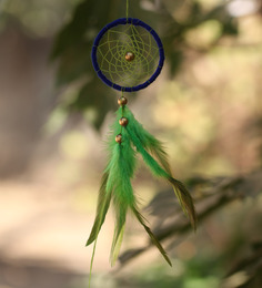 Rooh Wellness Weave Green And Blue Wool 6 X 1 X 19 Inch Dream Catcher