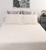 Dreamscape Beige Cotton Queen Bed Sheet with 2 Pillow Covers-Set of 3