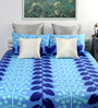 Dreamscape Blue Cotton Floral Queen Bed Sheet (with Pillow Covers) - Set of 3