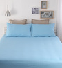 Dreamscape Blue Cotton Queen Size Bed Sheet - Set of 3