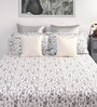 Dreamscape Grey Cotton Queen Size Bed Sheet with 2 Pillow Covers- Set of 3