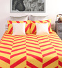 Dreamscape Orange & Yellow Cotton Queen Bed Sheet (with 2 Pillow Covers)-Set of 3