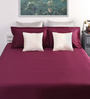 Dreamscape Red Cotton Queen Size Bed Sheet with 2 Pillow Covers- Set of 3