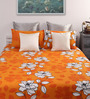Dreamscape Rust Cotton Damask Queen Bed Sheet (with 2 Pillow Covers)-Set of 3