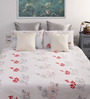 Dreamscape White Cotton Floral Queen Bed Sheet (with 2 Pillow Covers)-Set of 3