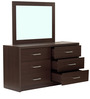 Kazue Six Drawer Dresser Chest with Mirror in Chocolate Beech Finish by Mintwud