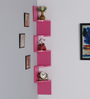 DriftingWood Laminated Pink Zigzag Shape Corner MDF Wall Shelf
