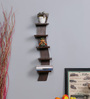 DriftingWood Wenge MDF Curvy 5 Tier Floating Wall Shelf