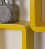 Driftingwood Yellow & Black MDF Cube & Rectangle Shape Wall Shelf - Set of 6