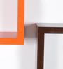 Driftingwood Orange & Brown MDF Nesting Square Shape Wall Shelves - Set of 3