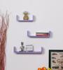 DriftingWood Purple MDF Curved U Shape Floating Wall Shelf - Set of 3