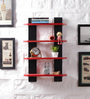 Driftingwood Red & Black MDF Ladder Shape Wall Shelf