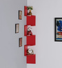 DriftingWood Red MDF Laminated Walnut Zigzag Shape Corner Wall Shelf