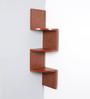 Driftingwood Rusty Cedar MDF Zigzag Shape 3-Tier Corner Wall Shelf