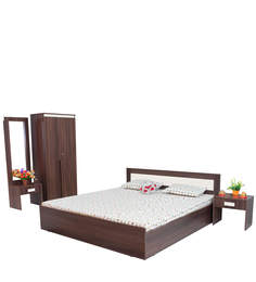 Dylan Bedroom Set (Queen Bed Without Storage + 2 Door Wardrobe + Dressing Table + Bedside Table) In Walnut & Dream White Colour By Crystal Furnitech