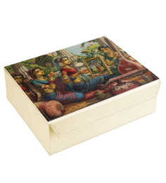 Ecoleatherette Handcrafted Multicolour Leatherette 10.2 X 8.1 X 3.3 Inch 6 Compartment Bangle Box - 1483271