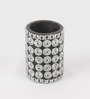 eCraftindia Black & Silver Wooden Cylindrical Candle Stand - Set of 3