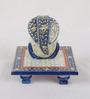 eCraftindia Blue Makrana Marble Lord Ganesha on Chowki