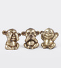 Ecraftindia Brown Brass Decorative Musketeers Monkey - Set of 3