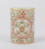 eCraftindia Multicolour Makrana Marble Embossed Decorative Floral Pen Stand