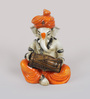 eCraftindia Orange & Brown Synthetic Fibre Lord Ganesha Playing Dholak
