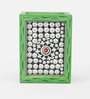 Ecraftindia Silver & Green Wooden Jewelled Pen Stand