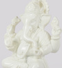 eCraftindia White Polyresin Chaturbhuj Lord Ganesha Showpiece