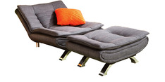 Edo Lounger with Ottoman in Grey by Furny
