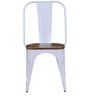 Ekati Metal Chair in White Color with Wooden Seat by Bohemiana
