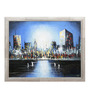 Elegant Arts and Frames Canvas & Wood 26 x 1 x 23 Inch City Skyscrapers Framed Original Oil painting