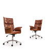 Elegante High Back Executive Chair in Dark Tan Leather by Durian