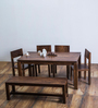 Elkhorn Six Seater Dining Set in Provincial Teak Finish by Woodsworth