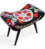 Embroidered Ottoman Stool in Multi Colour by The Yellow Door Store