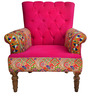 Embroidered Accent Chair in Pink Colour by The Yellow Door Store