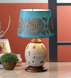 Ethnic Roots Blue Cotton Table Lamp - 1566830