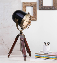Ethnic Roots Brass Finish Black Metal Table Tripod Lamp - 1351124