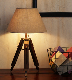 Ethnic Roots Mango Wood & Beige Color Tripod Table Lamp - 1408569