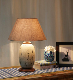 Ethnic Roots Beige Cotton Table Lamp