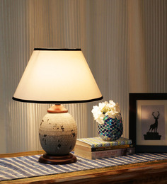 Ethnic Roots White Cotton Table Lamp - 1408672