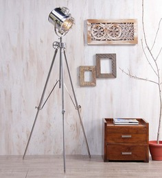 Ethnic Roots Nickel Silver Metal Floor Tripod Lamp - 1351167